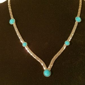 Jewelry - Trendy Fashion Turquoise Silvertone Necklace